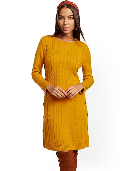 Button-Accent Cable-Knit Sweater Dress - New York & Company