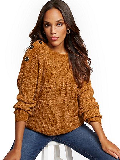 Button-Accent Chenille Sweater - New York & Company