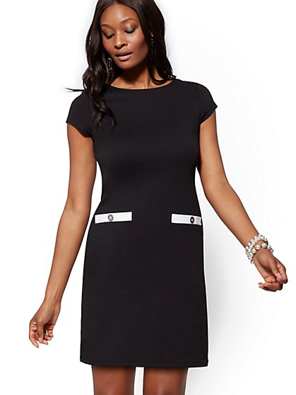 Button-Accent & Contrast-Trim Cotton Shift Dress - New York & Company