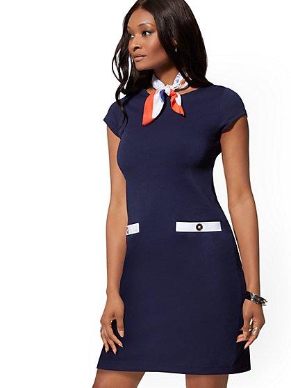618c2ac1ce3 Button-Accent   Contrast-Trim Cotton Shift Dress - New York   Company ...