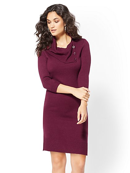 Button-Accent Cowl-Neck Sweater Dress - New York & Company