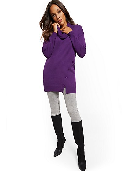 Button-Accent Cowl-Neck Tunic Sweater - New York & Company