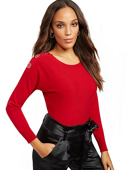 Button-Accent Dolman Sweater - 7th Avenue - New York & Company