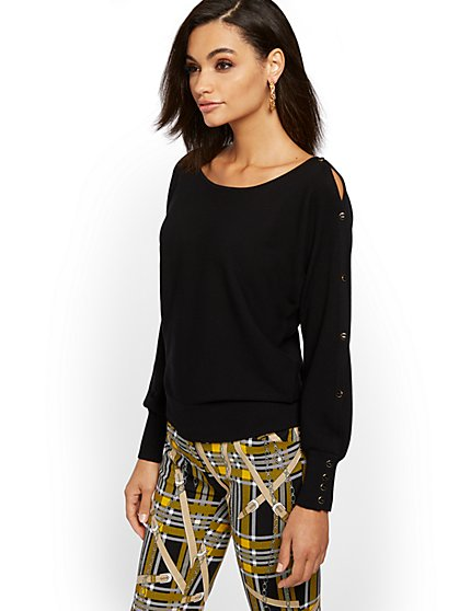 Button-Accent Dolman Sweater - New York & Company