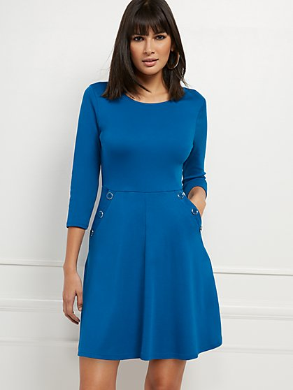 Button-Accent Fit and Flare Dress - Lightweight Ponte - New York & Company