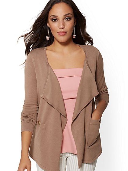 Button-Accent Flyaway Cardigan - New York & Company