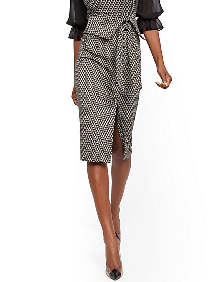 Button-Accent Foldover Pencil Skirt - 7th Avenue - New York & Company