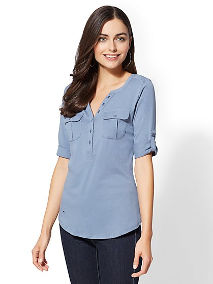 Button-Accent Henley Top - New York & Company