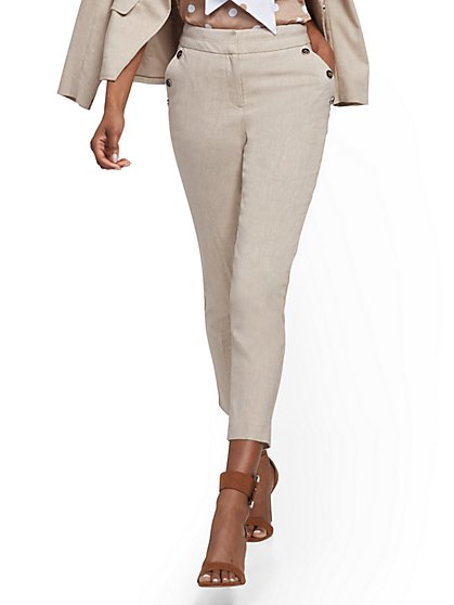 Button-Accent High-Waist Ankle Pant - Linen Blend - 7th Avenue - New York & Company