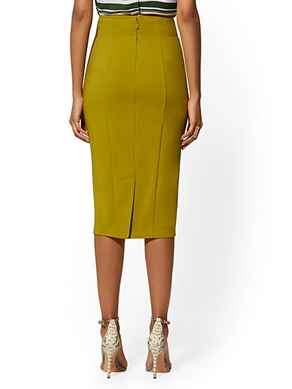 3237004de ... Button-Accent High-Waist Pencil Skirt - All-Season Stretch - New York