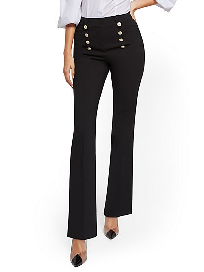 Button-Accent High-Waisted Bootcut Pant - All Season Stretch - 7th Avenue - New York & Company