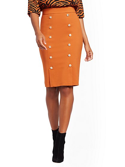 Button-Accent High-Waisted Pencil Skirt - All-Season Stretch - 7th Avenue - New York & Company