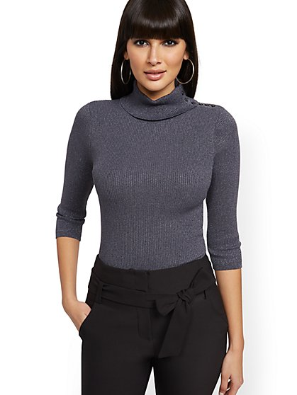 Button-Accent Metallic Grey Turtleneck - New York & Company