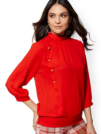 Button-Accent Mock-Neck Blouse - 7th Avenue - New York & Company