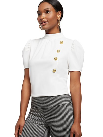 Button-Accent Mock-Neck Top - New York & Company