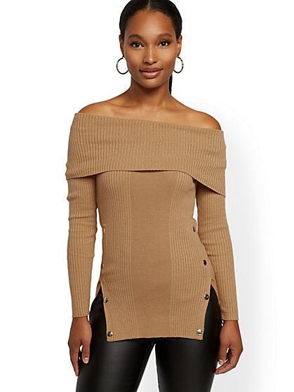 Button-Accent Off-The-Shoulder Sweater - 7th Avenue - New York & Company