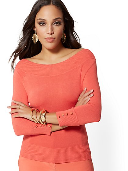 Button-Accent Off-The-Shoulder Sweater - New York   Company ... 43de07b39