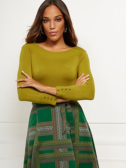 Button-Accent On/Off-The-Shoulder Sweater - 7th Avenue - New York & Company