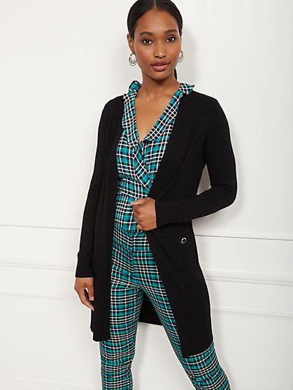 Button-Accent Open-Front Cardigan - 7th Avenue - New York & Company