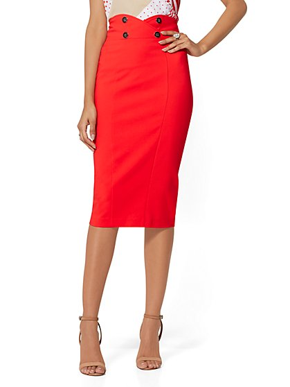 Button-Accent Pencil Skirt - All-Season Stretch - 7th Avenue - New York & Company