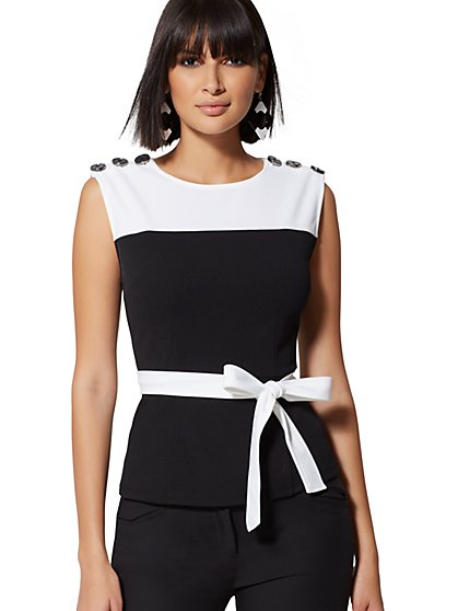 Button-Accent Peplum Top - 7th Avenue - New York & Company