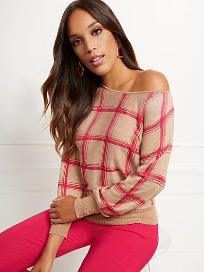 Button-Accent Plaid Sweater - New York & Company