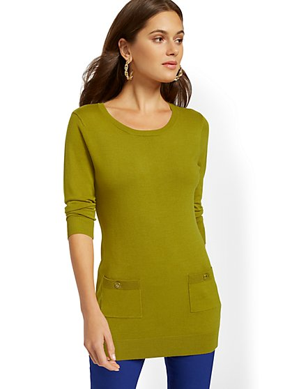Button-Accent Pocket Tunic Sweater - 7th Avenue - New York & Company
