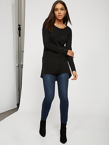 Button-Accent Pocket Tunic Sweater - New York & Company