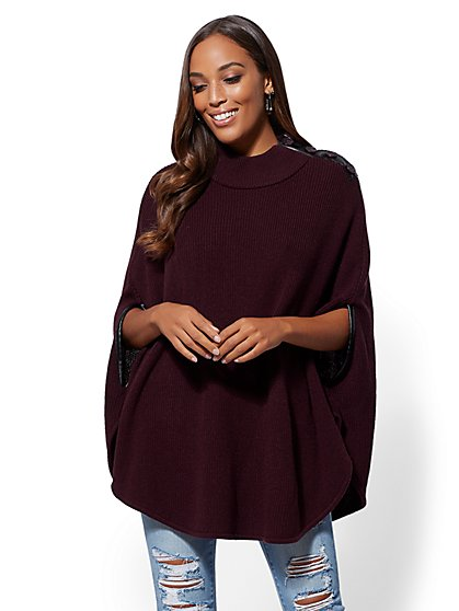 Button-Accent Poncho - New York & Company