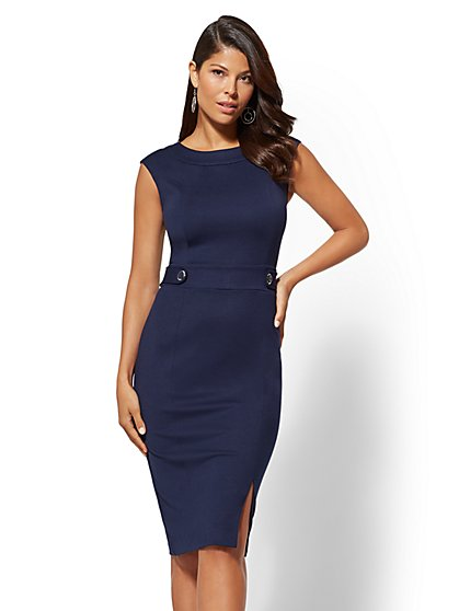 Button-Accent Ponte Sheath Dress - 7th Avenue - New York & Company