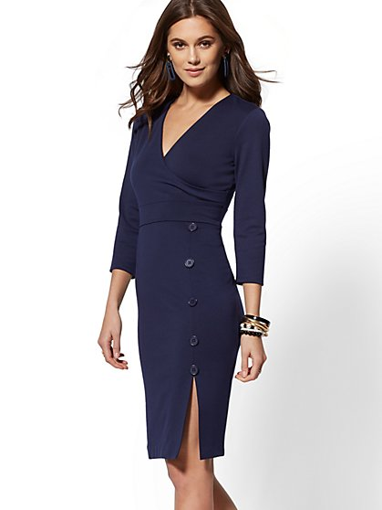 Button-Accent Ponte Wrap Sheath Dress - 7th Avenue - New York & Company