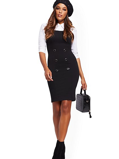 Button-Accent Poplin Twofer Sheath Dress - New York & Company