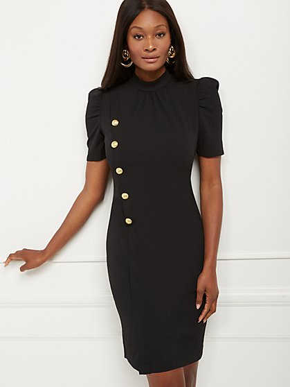 Button-Accent Puff Sleeve Sheath Dress - Magic Crepe® - New York & Company