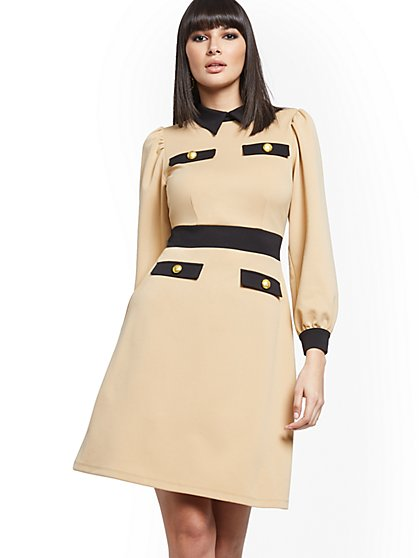 Button-Accent Puff-Sleeve Sheath Dress - Magic Crepe® - New York & Company
