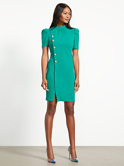 Button-Accent Puff Sleeve Sheath Dress - Magic Crepe - New York & Company