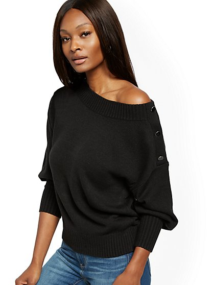 Button-Accent Puff-Sleeve Sweater - New York & Company