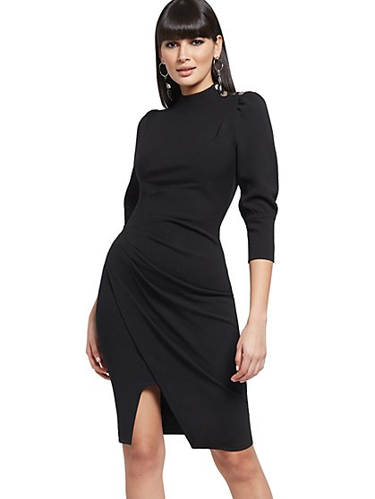 Button-Accent Ruched Sheath Dress - New York & Company