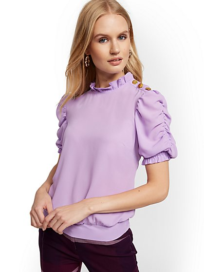 Button-Accent Ruffled Blouse - New York & Company