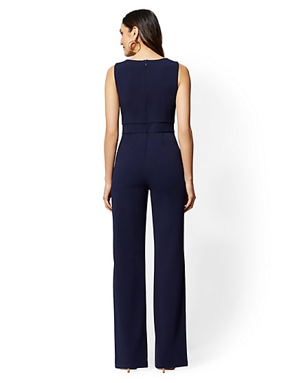 150b95a94220 ... Button-Accent Scuba-Crepe Jumpsuit - Magic Crepe - 7th Avenue - New York