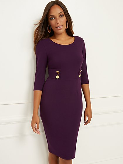 Button-Accent Sheath Dress - Magic Crepe® - New York & Company