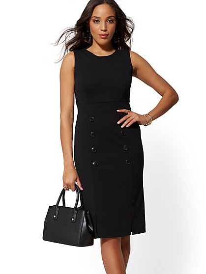 Button-Accent Sheath Dress - Magic Crepe - New York & Company