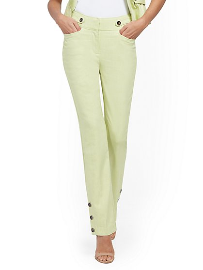 Button-Accent Straight-Leg Pant - New York & Company