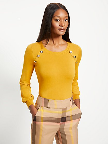 Button-Accent Sweater - 7th Avenue - New York & Company