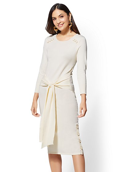 Button-Accent Tie-Front Sweater Dress - New York & Company