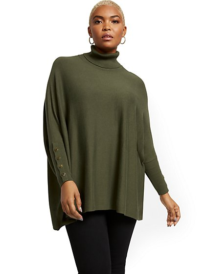 Button-Accent Turtleneck Dolman Sweater - New York & Company