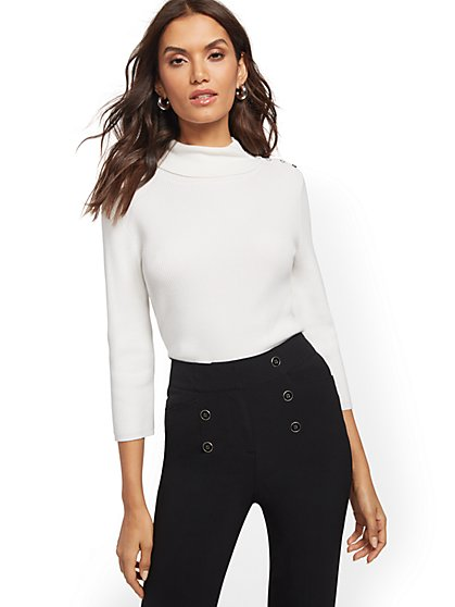 Button-Accent Turtleneck Sweater - 7th Avenue - New York & Company