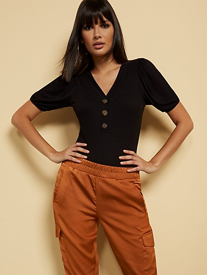 Button-Accent V-Neck Bodysuit - New York & Company