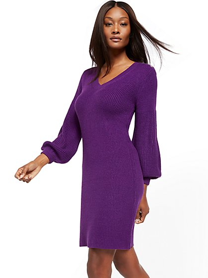 Button-Accent V-Neck Sweater Dress - New York & Company