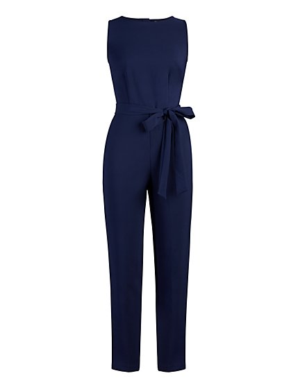 Button-Back Belted Jumpsuit - New York & Company