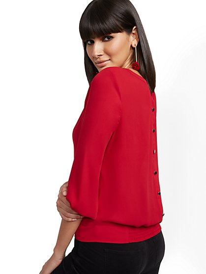 Button-Back Blouse - 7th Avenue - New York & Company